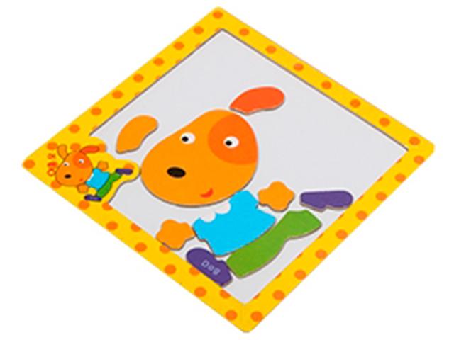 """Пазл- рамка деревянная для малышей, магнитная """"Собачка"""", 10 элементов. 15х15 см"""