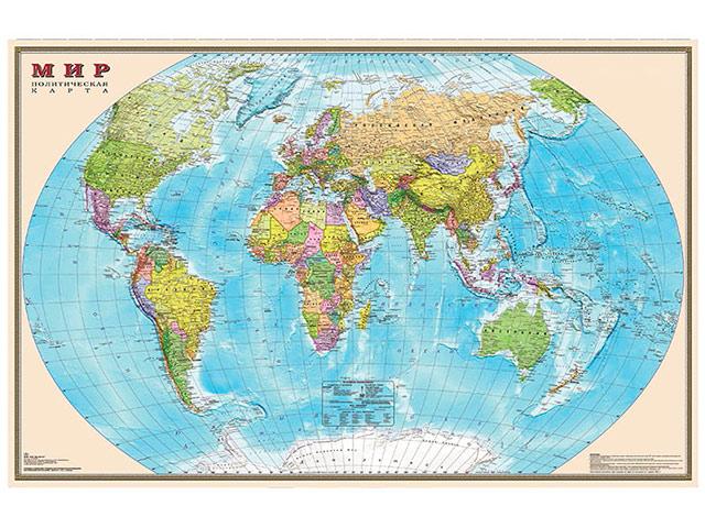 Мир. Политическая карта. 1:25М настен. лам. 122х79