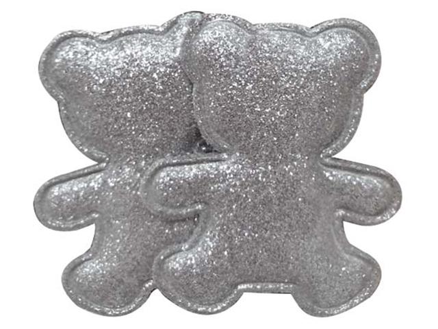 """Декоративное украшение для творчества """"Серебряные мишки"""" 5,7х0,2х4,7см, 2 штуки в наборе"""