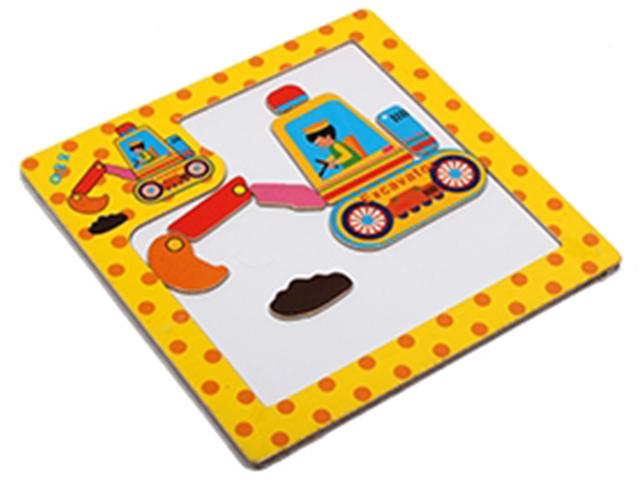 """Пазл- рамка деревянная для малышей, магнитная """"Экскаватор"""", 8 элементов. 15х15 см"""