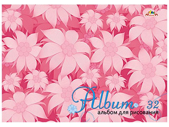 """Альбом для рисования А4 32 листа Апплика """"Цветы на розовом"""", на гребне"""