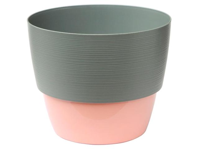 """Горшок для растений """"Валенсия"""" 2,5л, d-17,5см, h-14,5см, с вкладкой, серый муссон-розовый"""
