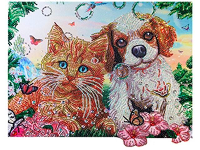 """Алмазная мозаика Рыжий кот """"Пушистые друзья"""" 40х50 см, без подрамника, камни разных форм"""