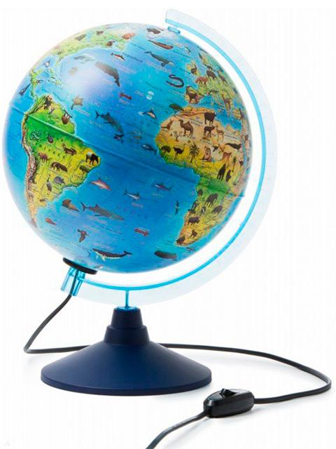 Глобус d=250мм Зоогеографический (детский) с подсветкой Классик Евро