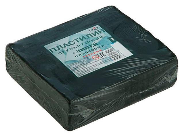 """Пластилин скульптурный Гамма """"Лицей"""" 500 г, оливковый, твердый"""
