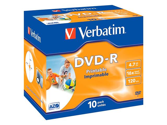 Диск DVD-R Verbatim 4.7 Гб 16х Jewel case 10