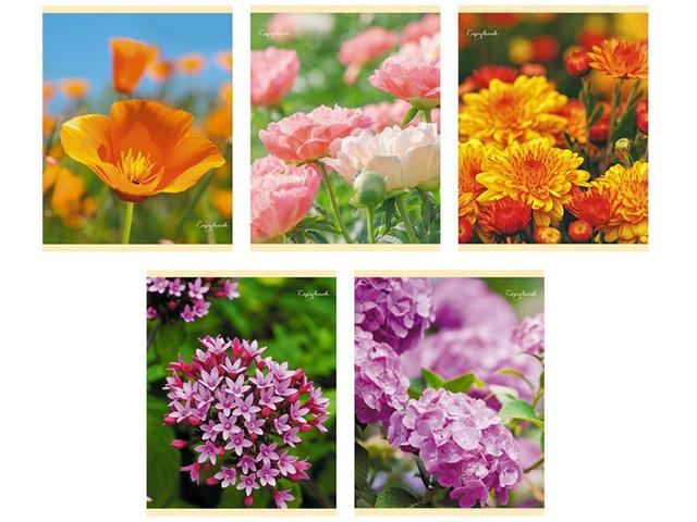 """Тетрадь А5 96 листов клетка Unnika """"Прекрасные цветы"""" обложка мелованный картон, на скрепке"""