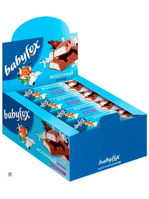 Шоколад Babyfox молочный, с молочной начинкой, 47г