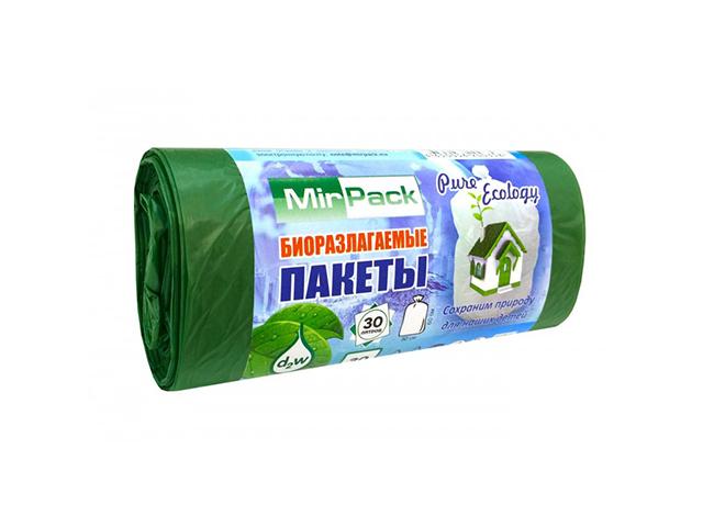 "Мешок для мусора 30 л. 30 шт. ""MirPack. Био "" 50х60 см, биоразлагаемые, зеленые, 7 мкм"