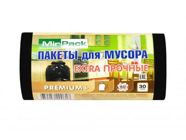"Мешок для мусора 60л. 30шт. ""MirPack. PREMIUM"" 60х70 см, 25 мкм, черный"