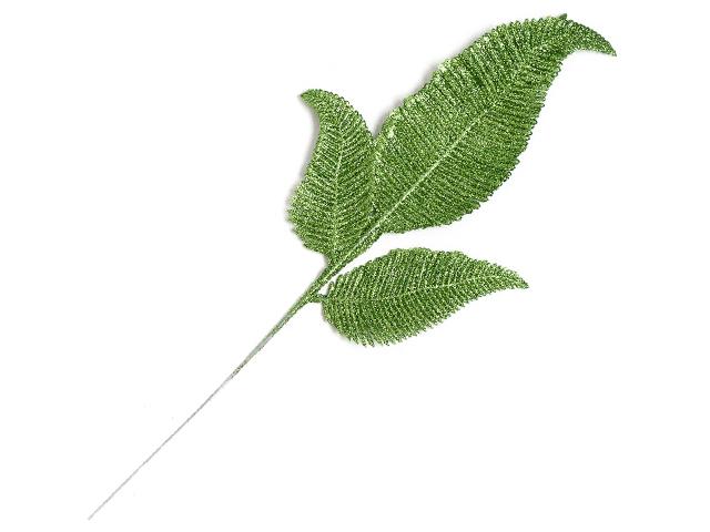 Веточка декоративная зеленый, с глиттером (цена за 1 шт)