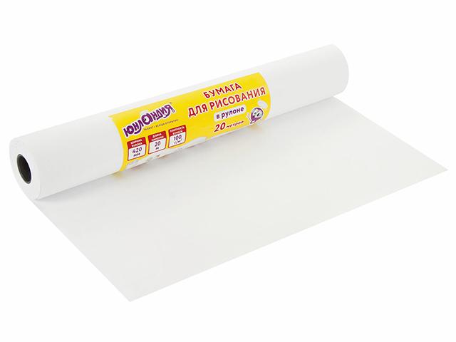 """Бумага для рисования в рулоне Юнландия """"Рисуй-играй-учись"""" 20 м, плотность 100 г/м2"""
