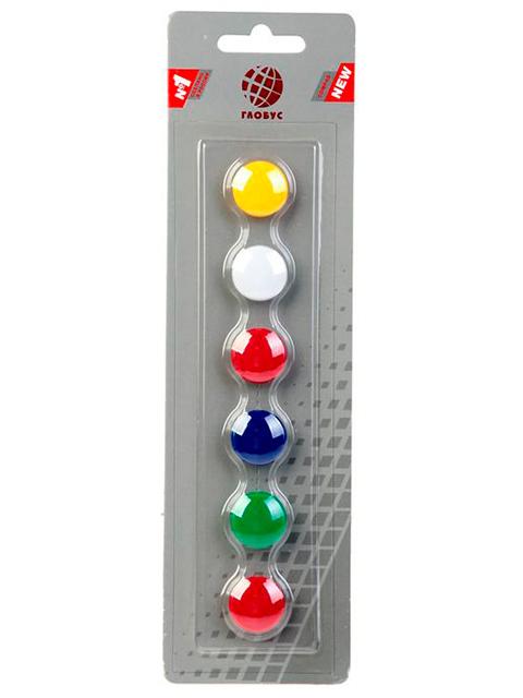 Набор магнитов для доски Globus 6 штук 20 мм, цветные