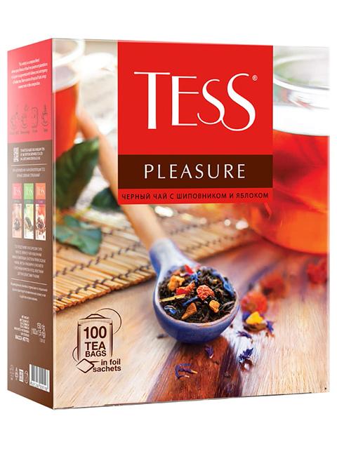 Чай TESS PLEASURE черный, тропические фрукты, лепестки цветов, шиповник, яблоко, в пакетиках с ярлыками 1,5 г 100 штук