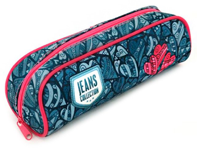 "Пенал-косметичка Оникс ""Jeans collection"" 210х80х70 мм, объемный на молнии"