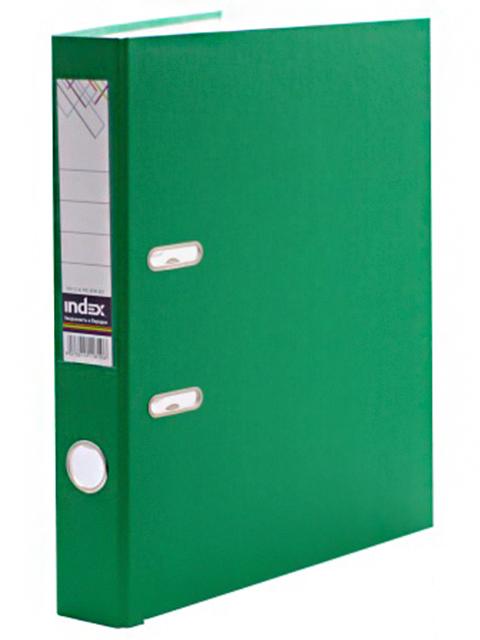 Регистратор А4 Index 50 мм полипропиленовый, с металлической окантовкой, зеленый