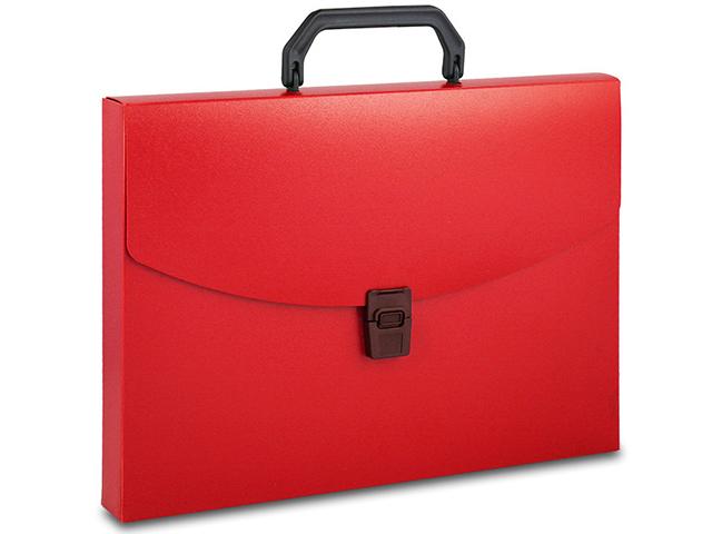 Портфель пластиковый А4 1 отделение Бюрократ 0,7 мм, красный