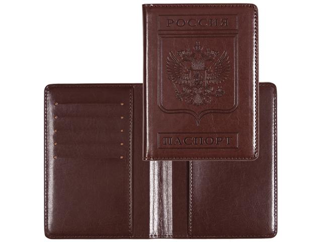 """Обложка для паспорта  """"deVENTE"""" 10х14см, иск. кожа, поролон, отстрочка, термо тиснение, 5 отдел. для визиток, коричневая"""