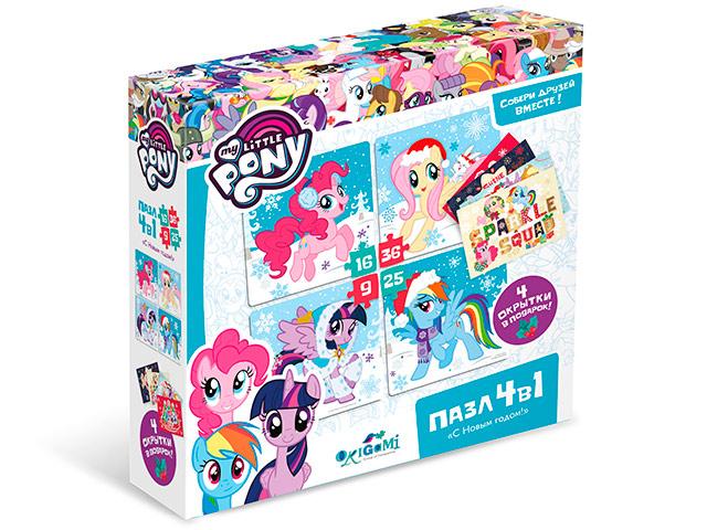 """Пазлы (набор 4в1) 9-16-25-36 элементов Оригами """"Моя маленькая пони. Пони на снегу"""" с открытками"""