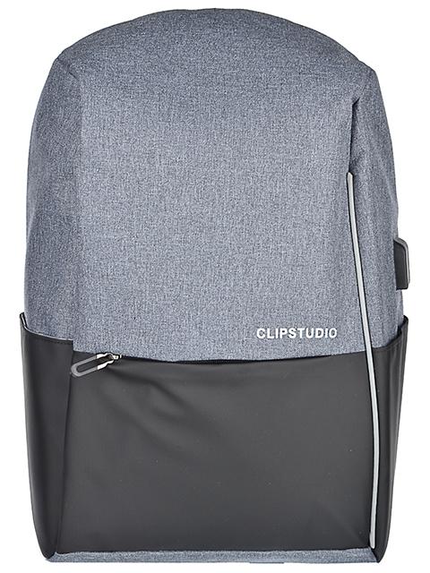 Рюкзак подростковый ClipStudio, 45х32х15 см, 1 отделение, USB-выход, черный/ серый