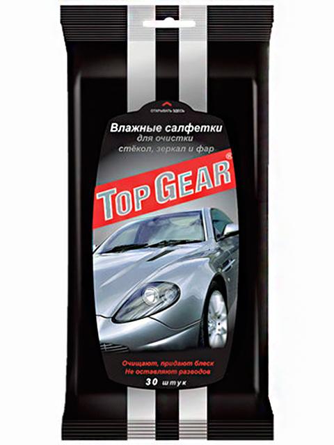 Салфетки влажные Top Gear для очистки стёкол, зеркал и фар автомобиля 30 шт.