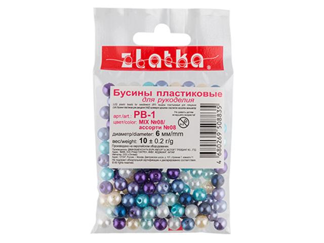 "Бусины круглые ""Zlatka"" 6 мм (№08 MIX) 10 гр"