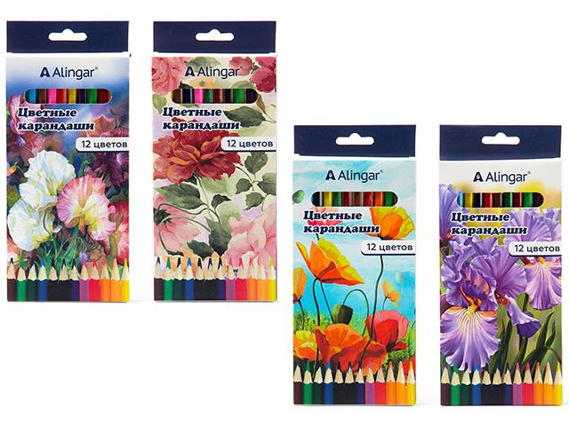 """Карандаши цветные Alingar """"Цветы"""" 12 цветов, шестигранные, в картонной упаковке, европодвес"""