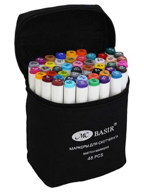 """Набор маркеров для скетчинга """"Basir"""" 48 цветов, двусторонние, трехгранный корпус, в сумке с ручкой"""