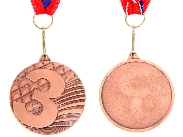 """Медаль призовая """"3 место"""" 048 5,0 см, металлическая, на ленте, бронза"""