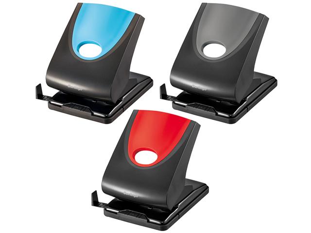 """Дырокол Berlingo """"Office Soft"""" 40л., пластиковый, с фиксатором, ассорти, с линейкой"""