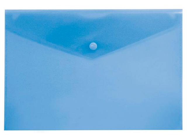 "Папка-конверт на кнопке А4 ""Бюрократ"" 0,18 мм, пластик, синий (без штрих-кода)"