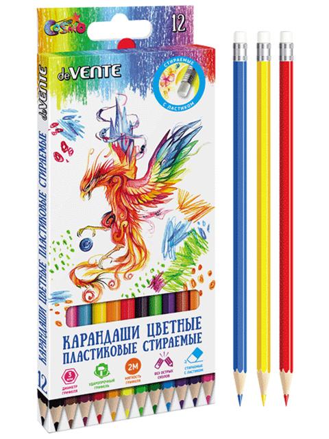 """Карандаши цветные deVENTE """"Cosmo"""" 12 цветов, 2М, пластиковые, шестигранные, стираемые, с ластиком, в картонной упаковке"""