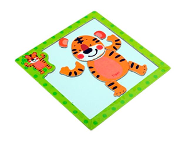 """Пазл- рамка деревянная для малышей, магнитная """"Тигр"""", 10 элементов. 15х15 см"""