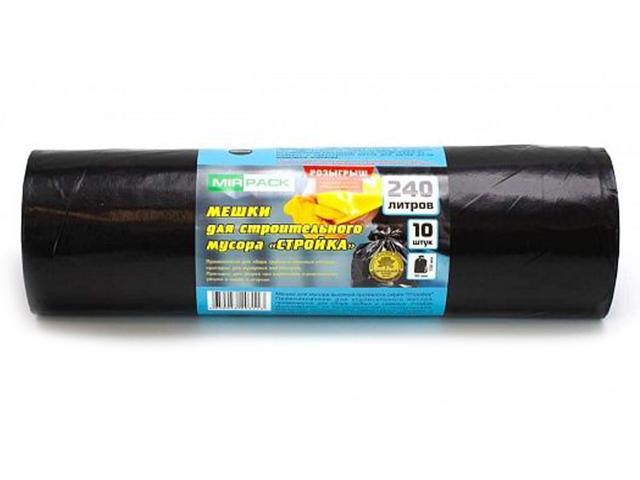 """Мешок для мусора 240л. 10шт. """"MirPack. Стройка"""" 90х130 см, 75мкм, черный"""