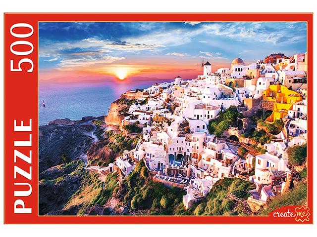 "Пазлы 500 элементов 480х340 Рыжий кот ""Греция. Санторини на закате"""