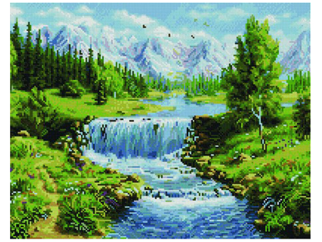 """Алмазная мозаика PaintBoy """"Летний водопад"""" 40х50 см, на подрамнике"""