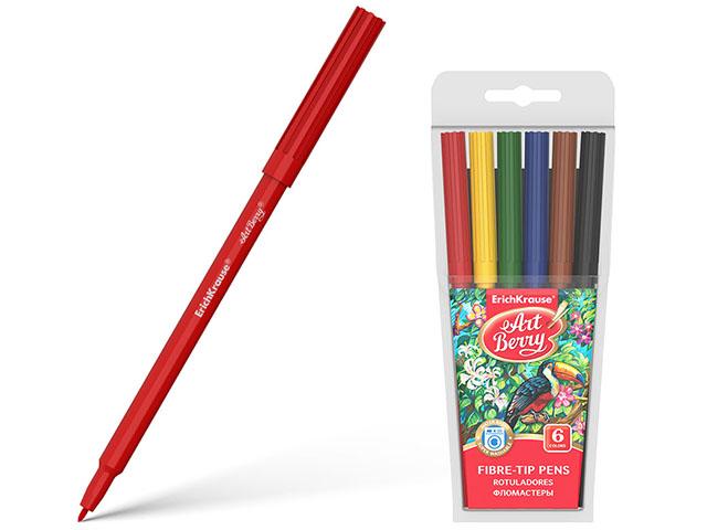 """Фломастеры Erich Krause """"ArtBerry. Super Washable"""" 6 цветов, смываемые, в блистерной упаковке"""