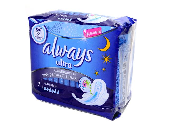 Прокладки Always Ultra Night защищает и нейтрализует запах 7шт в упаковке