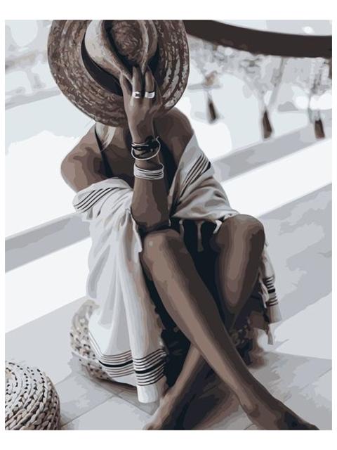 """Картина по номерам Colibri """"Девушка в пляжной шляпке"""" 40*50см"""