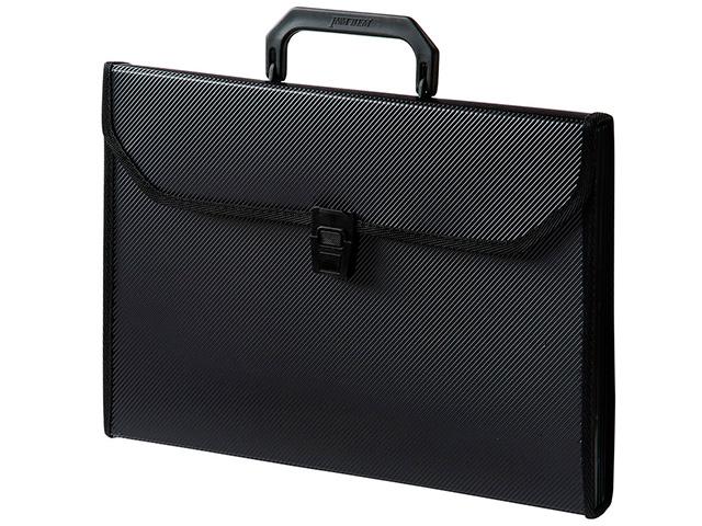 Портфель пластиковый А4 6 отделений Бюрократ с окантовкой, черный
