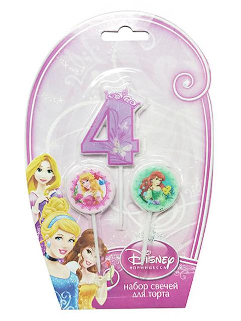 """Набор свечей для торта """"Дисней. Принцессы"""" (цифра """"4"""" и 2 медальона)"""