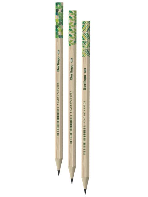 """Карандаш чернографитный Berlingo """"Green Series"""" НВ, пластиковый, шестигранный, заточенный, без ластика"""
