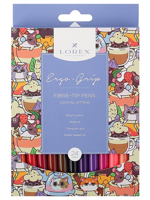 """Фломастеры LOREX """"ERGO-GRIP. COCKTAIL KITTENS"""" 24 цвета, смываемые чернила, в картонной упаковке"""