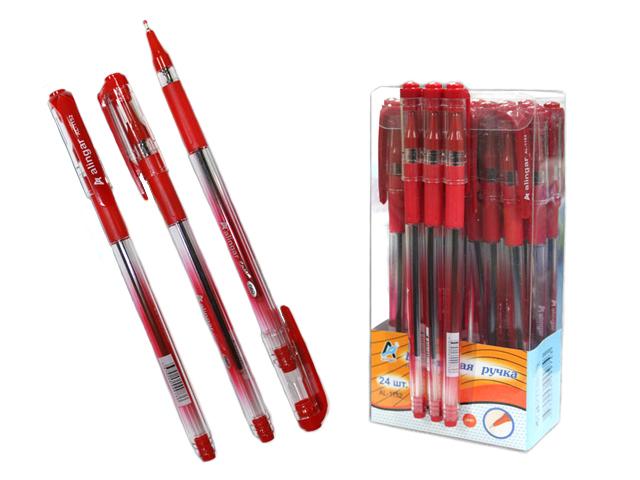 """Ручка шариковая масляная Alingar """"NEO/Stream"""" корпус прозрачный с резиновым держателем, красная"""