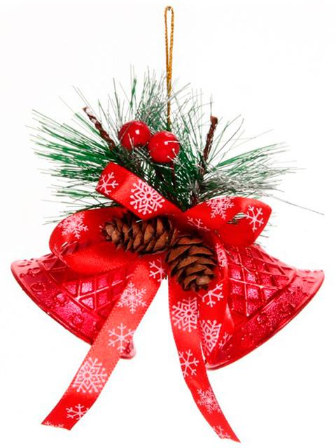 """Новогоднее украшение """"Колокольчики хвойные"""" 10 см, красный, в пакете"""