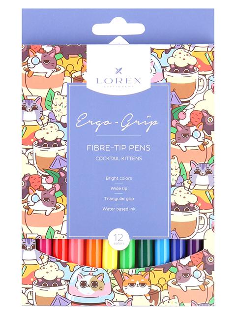 """Фломастеры LOREX """"ERGO-GRIP. COCKTAIL KITTENS"""" 12 цветов, смываемые чернила, в картонной упаковке"""