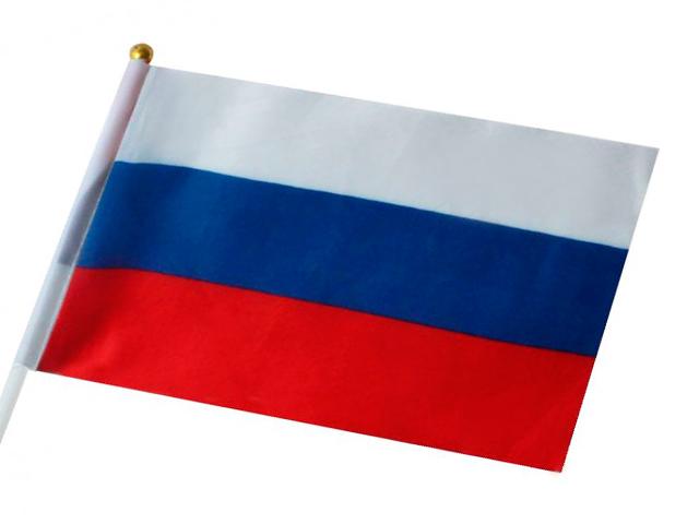 """Флаг России """"Триколор"""" 30х45 см без герба-с гербом, на пластиковой трубочке"""