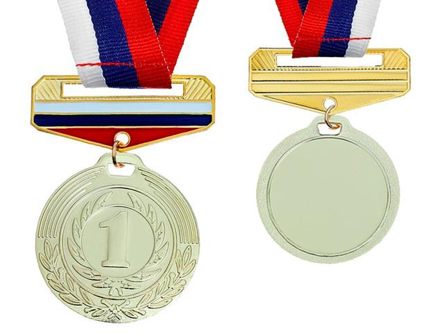 """Медаль призовая """"1 место"""" 154  4 см, металлическая, с колодкой триколор, на ленте, золото"""