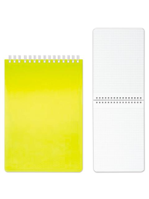 "Блокнот А5 80 листов клетка Хатбер ""Diamond Neon"" желтый, на спирали"