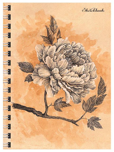 """Скетчбук А4 80 листов Paper Art """"Гравюра с пионом"""" твердая обложка, на евроспирали"""